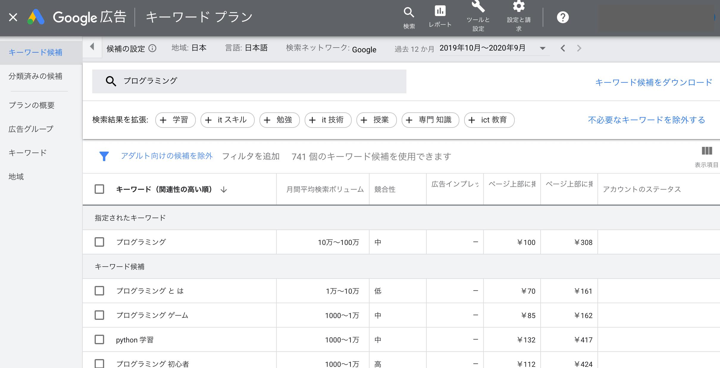 月間平均検索ボリュームの数値を見る